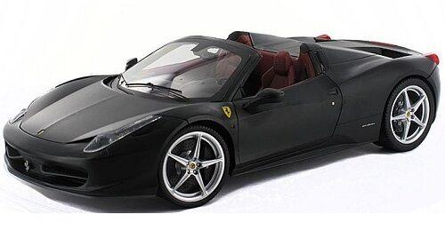 Ferrari  Spider en Negro Mate Interior bordó 1:18 por Hot Wheels Elite