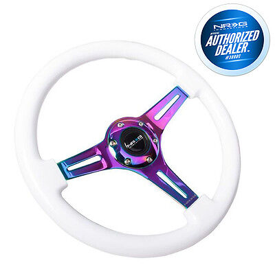 NRG Steering Wheel Classic Wood Grain 3 Spoke Neochrome Center ST-015MC-WT