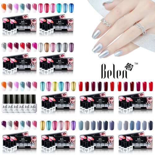 Belen 6 Colors Kit Set Gel Nail Polish UV Led Manicure Need Top Base Coat