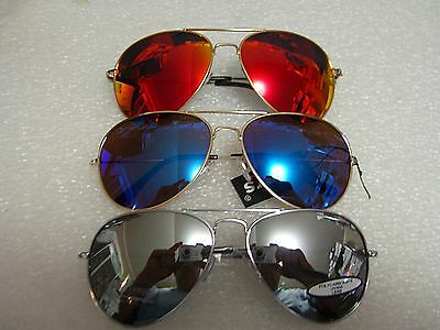AVIATOR SILVER MIRROR SUNGLASSES SILVER, BLUE AND RED MIRROR LENS 3 PAIR