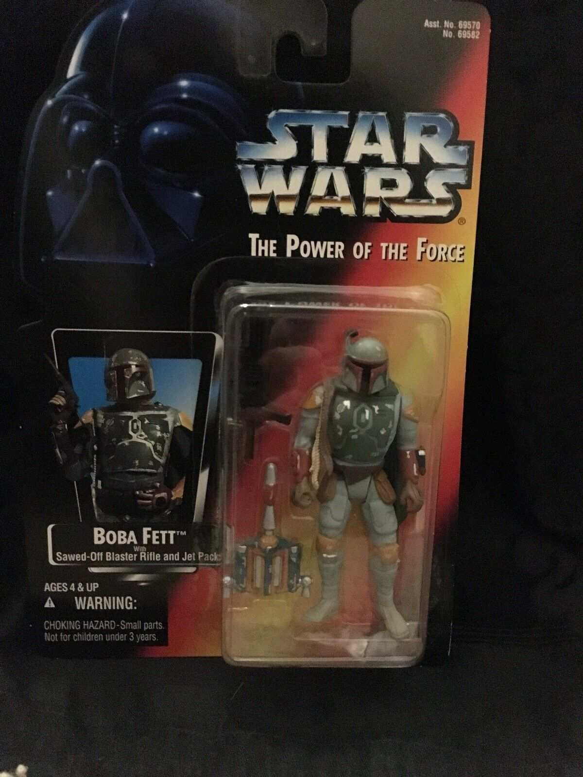 """STAR WARS -Power of the Force 1995 BOBA FETT figure """"Half Circle Hands"""