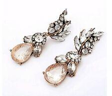 Statement Gold Clear Crystal Large Dangle Stud Drop Earrings UK Shop