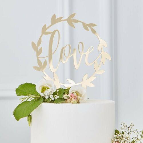 1 x Love Cake Topper viña oro acrílicotortendeko bodapastel de bodas