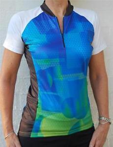 Womens-Cycling-Bike-Jersey-Sports-Golf-Top-short-sleeve-Green-S-M-L-XL-XXL-226