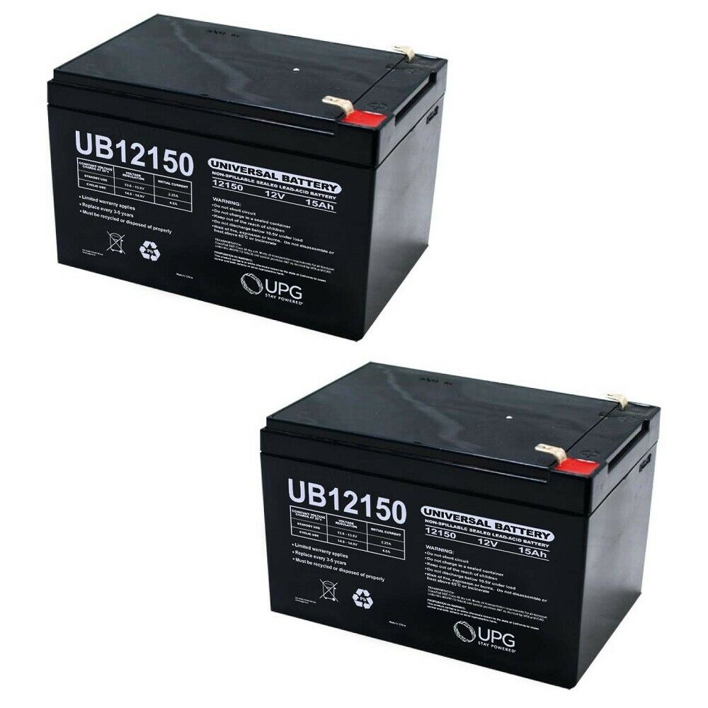 NEW 2 PACK UPG UB12150 12V 15AH F2 Replacement Battery for Pride Jazzy 2 Chair