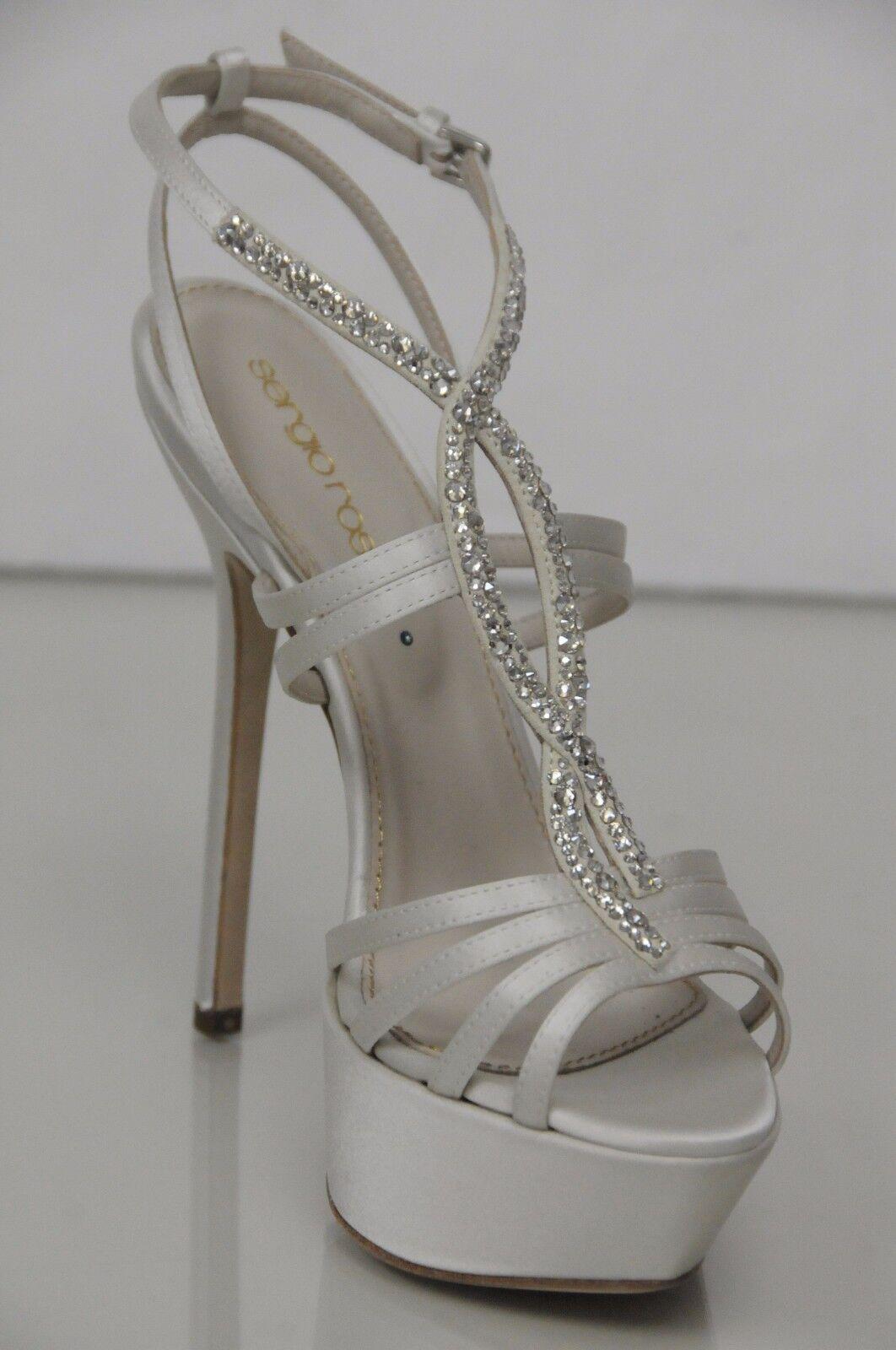 875 New Sergio Crystals Rossi Ivory Satin STRASS Crystals Sergio Wedding Bridal Platform Shoes c748f4