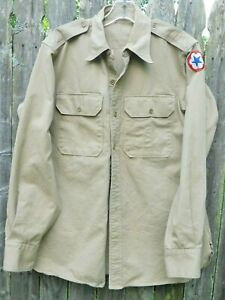 WWII-era-US-Army-Khaki-Shirt-Officer-Air-Corps-Soldier-Large-A