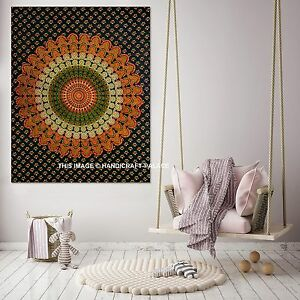 Indian-Peacock-Mandala-Tapestry-Wall-Hanging-Gypsy-Cotton-Poster-Hippie-Throw
