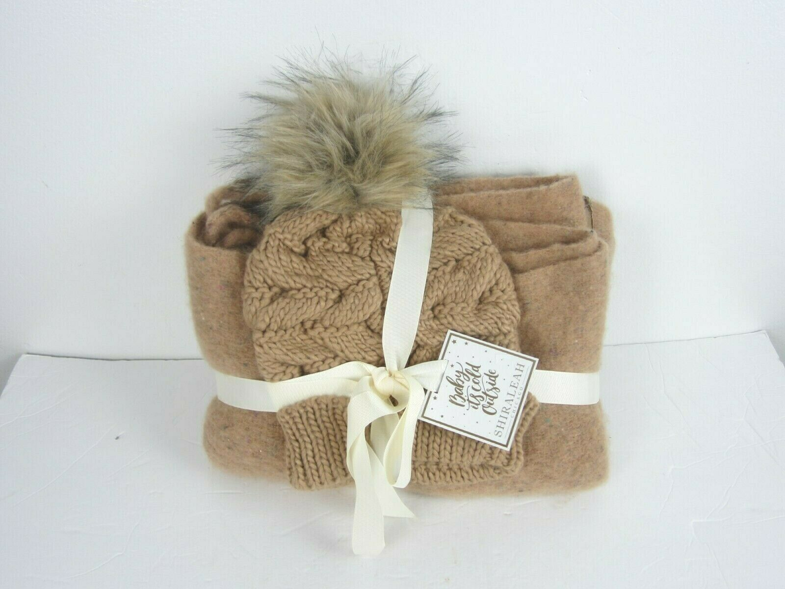 SHIRALEAH Chicago Tyler Scarf, Hat Set OS Camel Brown Vegan Soft Touch New