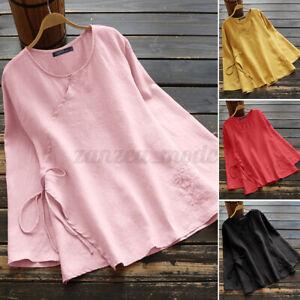 Mode-Femme-Chemise-Simple-Manche-Longue-Shirt-Haut-Decontracte-lache-Ample-Plus