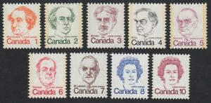 CARICATURE-DEFINITIVES-PRIME-MINISTERS-QUEEN-MNH-Canada-1973-76-586-93A