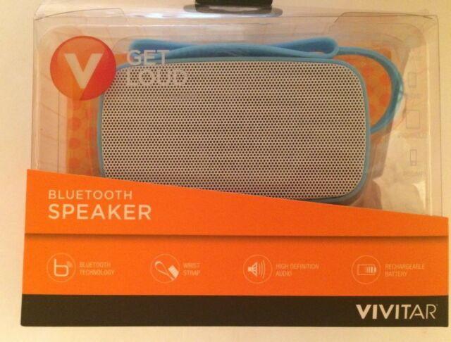 New Vivitar Bluetooth Speaker Get Loud Blue High Def Wrist Strap Android  iPhone
