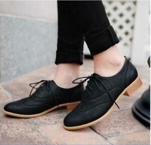 Women-England-brogues-Lace-Up-Wing-Tip-Oxford-College-Round-Toe-Flat-heels-Shoes