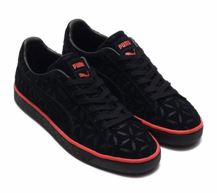 Nuevo En Caja Para Hombre Talla 8.5 PUMA GAMUZA Clásico Zapatillas Negro 369219-01 Lux
