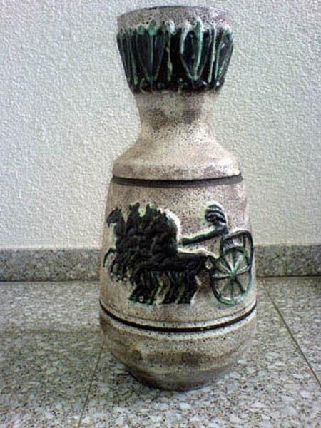 Vase Fat Lava Pferde Horses Chariot Scheurich 1017-45