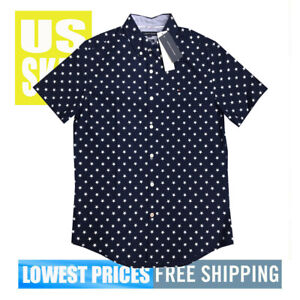 Tommy-Hilfiger-Men-039-s-NWT-SLIM-Fit-STARS-on-Navy-Button-Up-SH-SLeeve-Shirt-MEDIUM