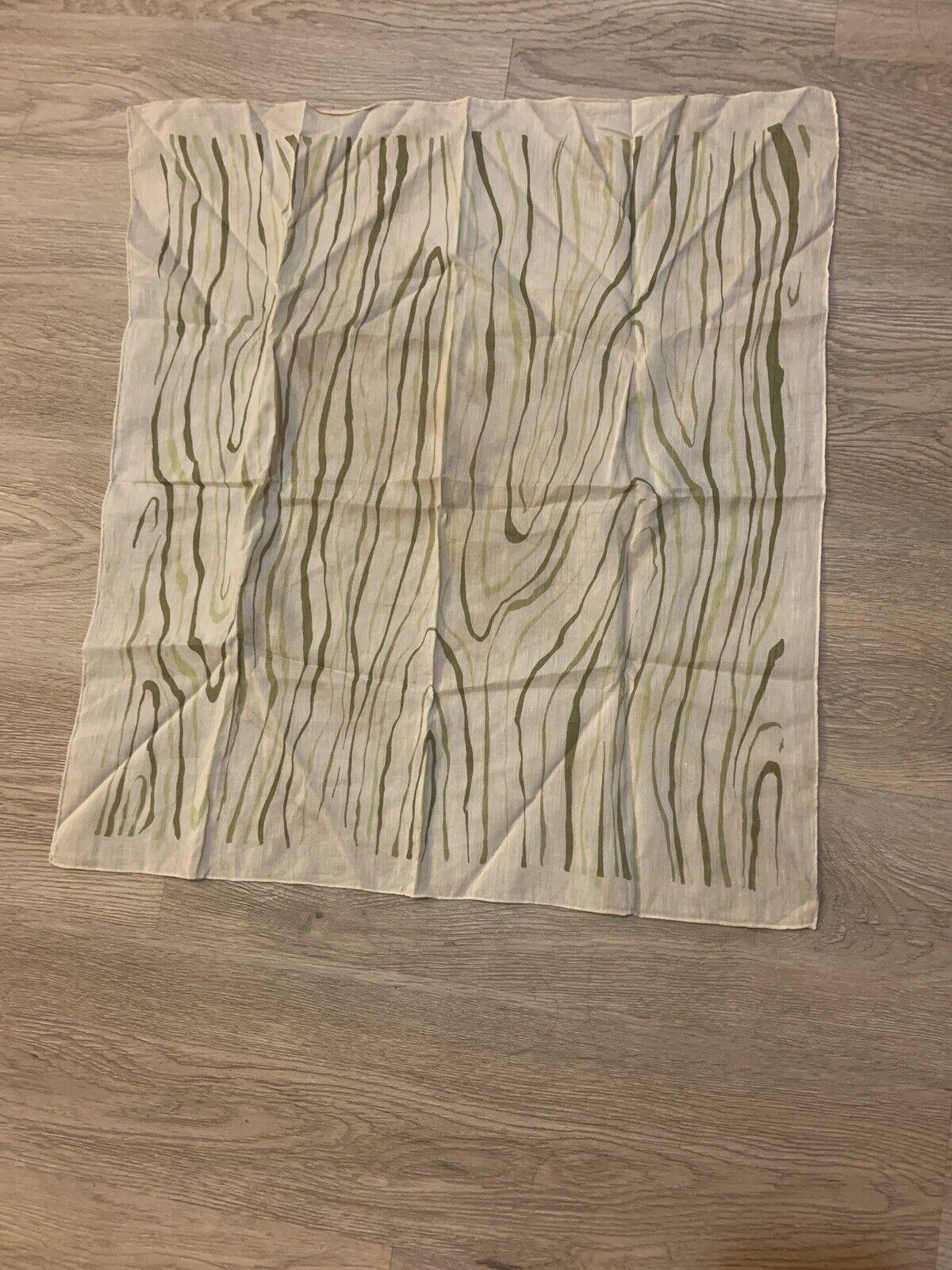 1940's Silk Scarf Greens Wood Grain Print VINTAGE - image 11