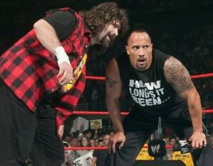 The-Rock-Dwayne-Johnson-Mick-Foley-Wrestling-WWE-Unsigned-8x10-photo