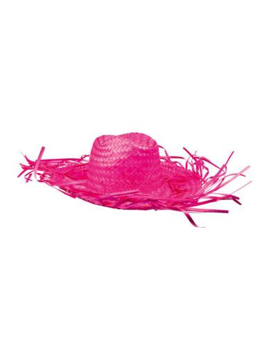 Faschingshut in Paglia Cowboy Caribbean Blu Giallo Verde Rosa Carnevale Carnevale