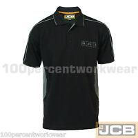 JCB Work Wear Mens FENTON Heavyweight Black Poloshirt Short Sleeve Polo T Shirt