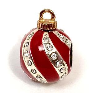 Brighton-Christmas-Deco-Stopper-Bead-J95152-Silver-Red-Enamel-New