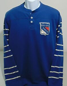 86dbfc3b0 NHL New York Rangers Blue CCM Henley Long Sleeve T-Shirt Mens L