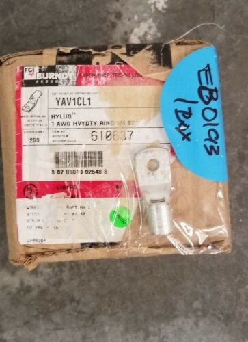 "1//4/"" hole New 10pk Burndy YAV1CL1  solderless Ring Terminal Lug 1AWG"