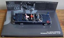 """!! rara!!! Lincoln Continental X-100 (""""el coche de Kennedy' ) por Minichamps con figuras"""