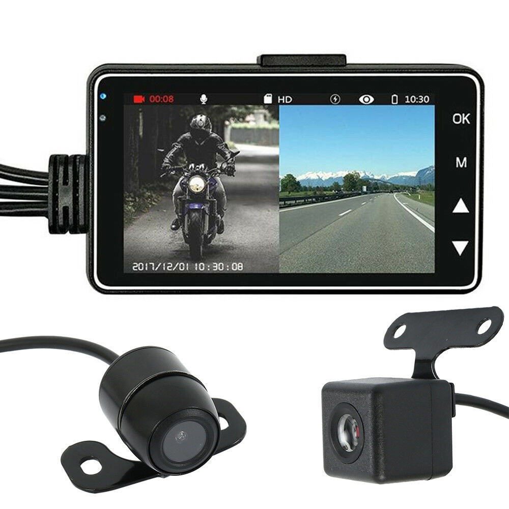 "Motorcycle Car 3"" LCD Action Dual Camera Dash Cam Video Camcorder Recorder Mic Featured"