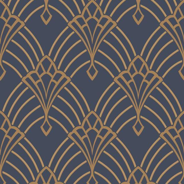 astoria art d co papier peint bleu fonc dor rasch 305340 neuf ebay. Black Bedroom Furniture Sets. Home Design Ideas