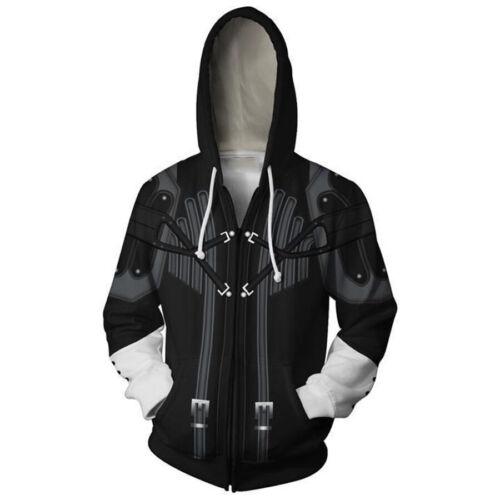 Mens Kingdom Hearts 2 Sora hoodie Sweatshirt Cosplay Costume zip up coat jacket