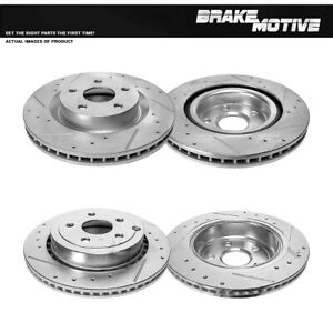 Front & Rear Drilled And Slotted Brake Rotors For 2008 2009 Pontiac G8 GT