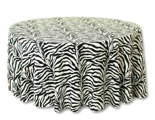 25 Lot 120  Round flocage Zebra mariage nappes