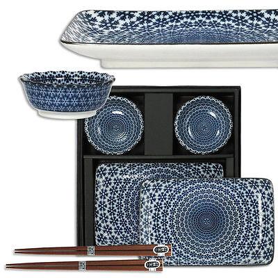 6 PCS. Japanese Ceramic Snow Sashimi Sushi Soy Dish Chopsticks Set Made in Japan
