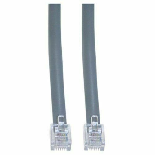 RJ11 SILVER GREY Modular Phone//Telephone Wire Line Flat Cord//Cable 6P4C 5ft 5/'
