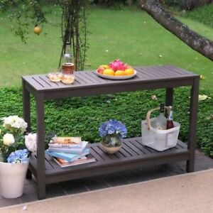Outdoor Console Table Buffet Patio Garden Wood Gray Sideboard
