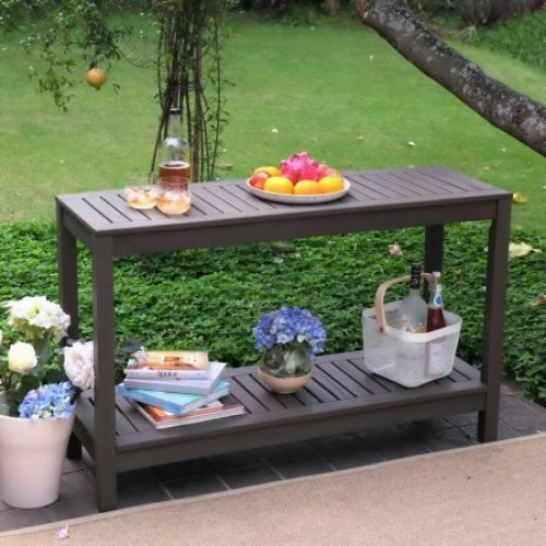 outdoor console table buffet patio garden wood gray