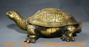 """12""""Ancien Chine Cuivre Folk Feng Shui Animal Tortue Tortue longévité Statue"""
