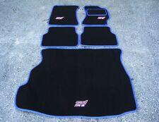 Negro/azul coche Mats-Subaru Impreza (01-06) + Rosa Sti Tipo Reino Unido Logos + Bota Mat