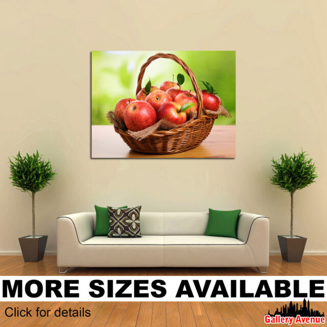 Wall Art Canvas Picture Print - Fruit Apples Many Wicker basket Food 4.3