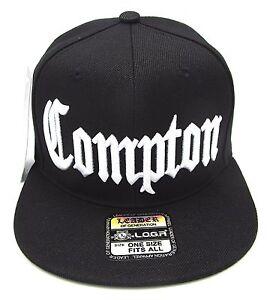 COMPTON Snapback Hat South Central Los Angeles City Cap Black OSFM NWT