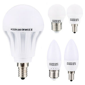 3w 5w e14 e27 led lampe gl hbirne leuchtmittel birne leuchte warmwei kaltwei ebay. Black Bedroom Furniture Sets. Home Design Ideas