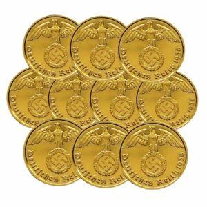 ++ 10 X 10 Reichspfennig Mit Hk - 24 Karat Vergoldet ++ GroßE Auswahl;