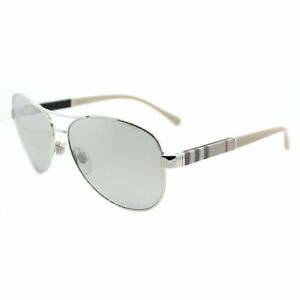 b4c20ae753 Image is loading Burberry-BE-3080-10056V-Silver-Metal-Aviator-Sunglasses-