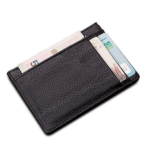 Minimalist Black Minimal Slim Light Leather Wallet Travel RFID Blocking