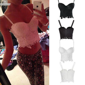 531a9bbc75f80 Sexy Floral Lace Crop Top Bustier Corset Bra Bralette Strappy Miss ...