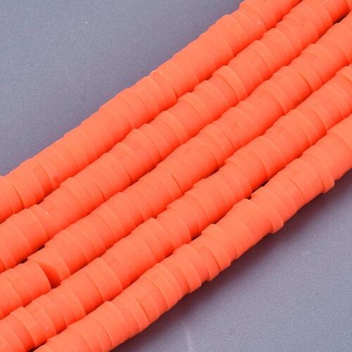 4mm Heishi perlas polímero Clay discos spacer 320-440st fädell.1,5mm naranja