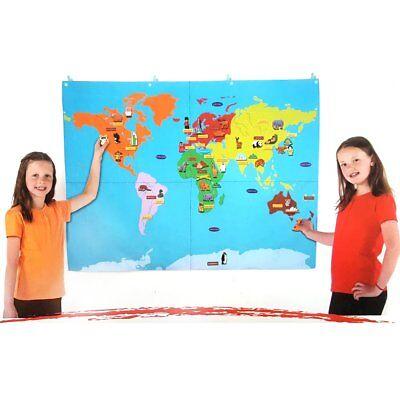Mappa Del Mondo Di Tessuto Con Motivi Collegabili In 67-per Bambini Delle Scuole Di Risorse Di Apprendimento-mostra Il Titolo Originale