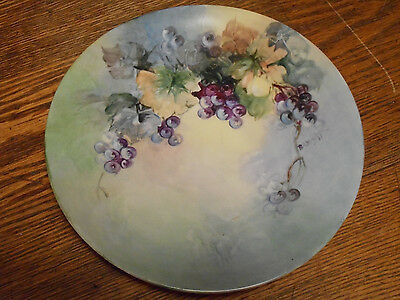 "Antique JPL Limoges 9"" Porcelain Plate-HP PURPLE GRAPES-Signed Wight France"