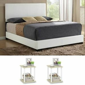 Details about White 3 Piece Queen Size Bedroom Set Furniture Modern Leather  Platform Bed Lux
